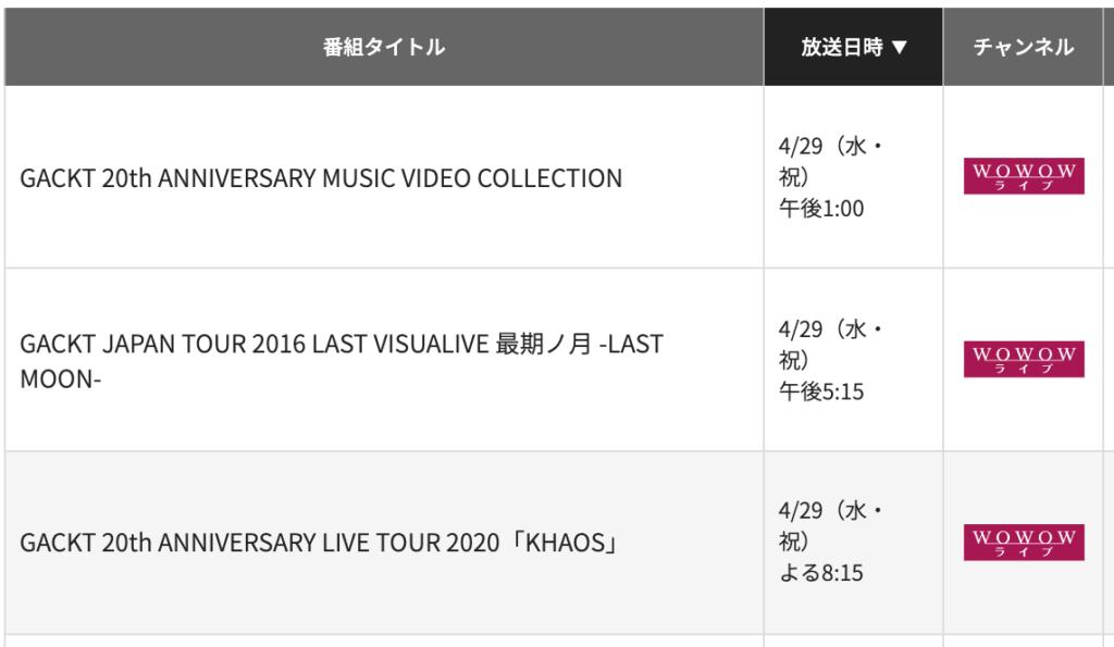 Gacktのアニバーサリーライブ・WOWOW放送予定画面